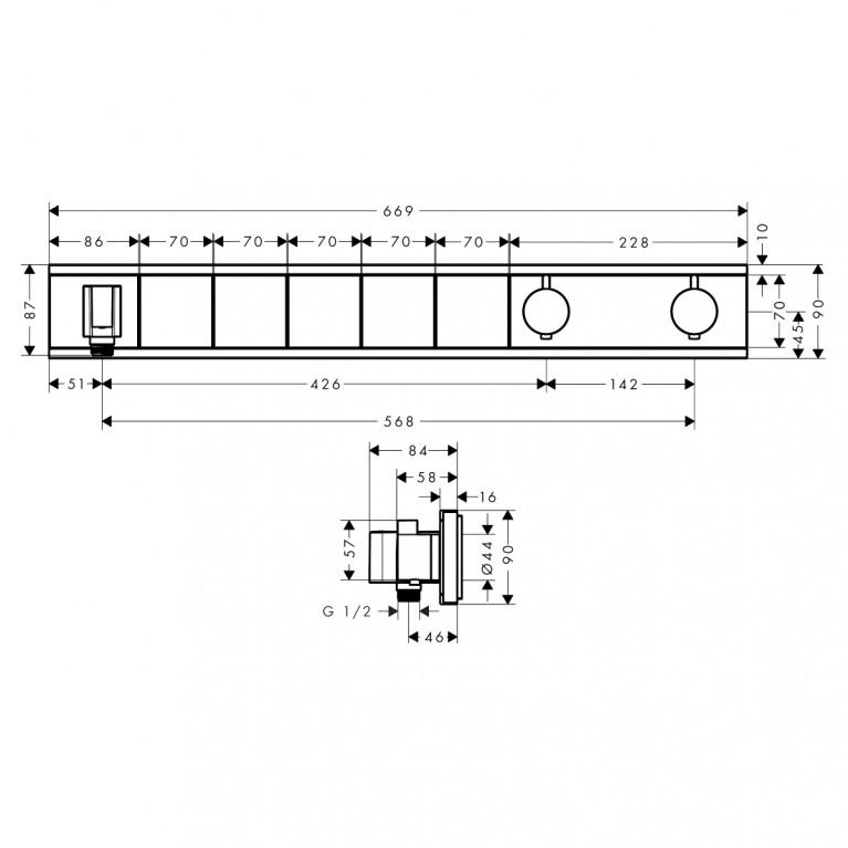 RainSelect Термостат для 4 потребителей, скрытого монтажа, матовый белый 15382700, фото 2