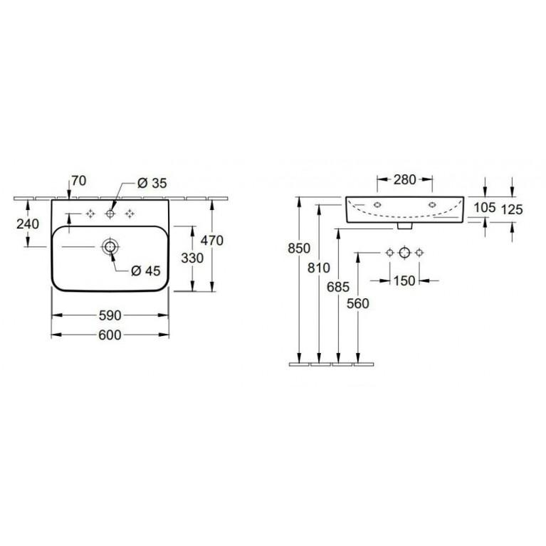 FINION умывальник 60*47см, для 3-позиционного смесителя, центральное отверстие выбито, скрытый перелив, цвет Star White С+ 41686CR2, фото 2