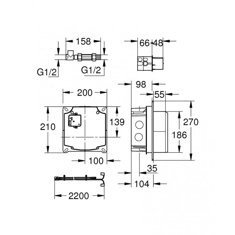 Eurocube E Скрытая часть, для смесителя для душа 36264001, фото 2
