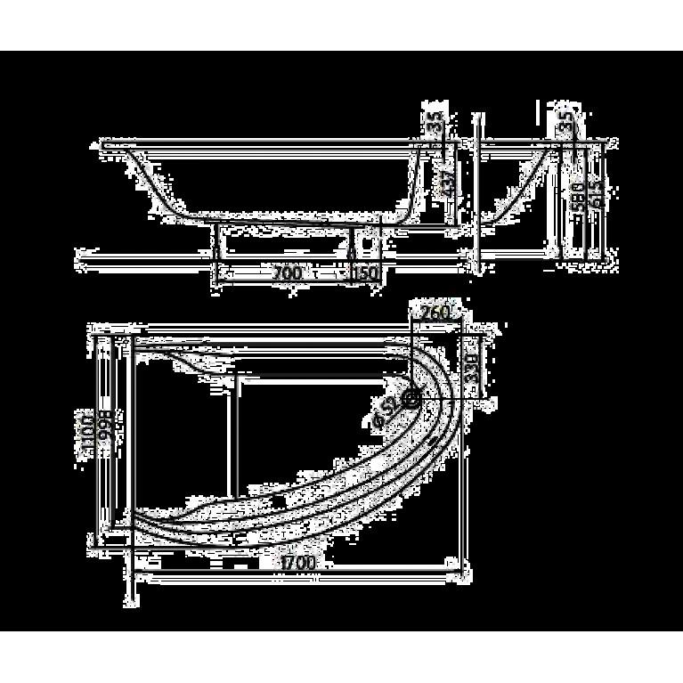 MIRRA ванна асимметричная 170*110 см, правая XWA3370000