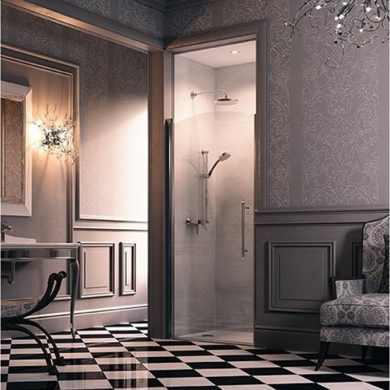DESIGN VICTORIAN Дверь распашная 90*190см (проф гл хром, стекло Anti-Plaque) DV0102092309, фото 2