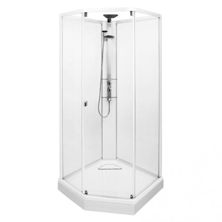 SHOWERAMA 10-5 COMFORT душевая кабина 100*100см, пятиугольная, профиль белый, прозрачное стекло/матовое стекло