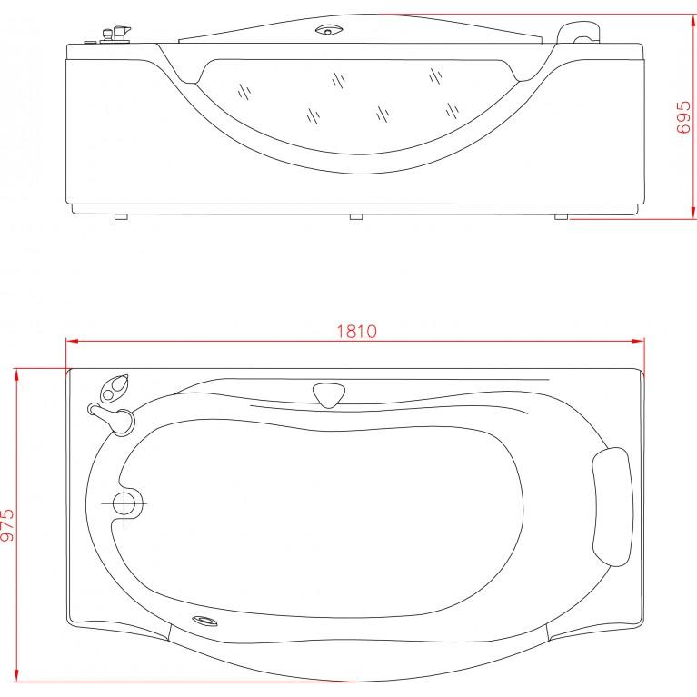 Ванна прямоугольная с гидромассажем и пневмокнопкой 1800*990*680 мм, с окошком АТ-932, фото 2