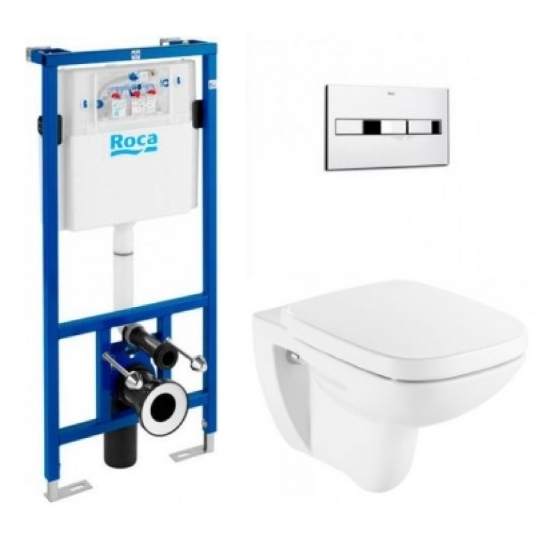 Комплект: DEBBA подвесной унитаз,сиденье твердое slow-closing, PRO инсталляция для унитаза, PRO кнопка, фото 1