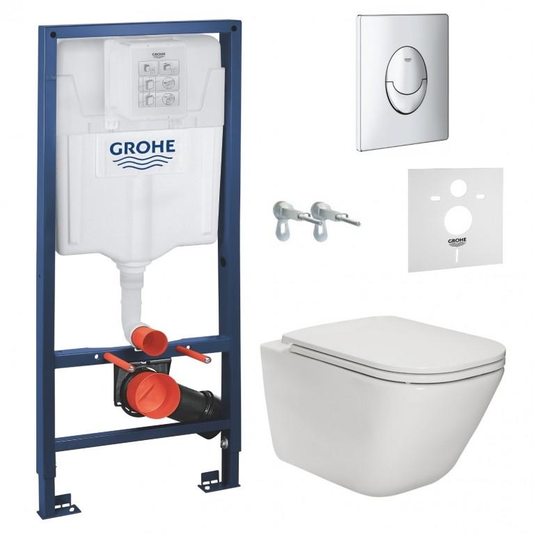 Комплект: GAP Rimless унитаз подвесной с сиденьем Slim, Rapid SL инсталляционная система для подв. унитаза, Grohe звукоизоляционный комплект