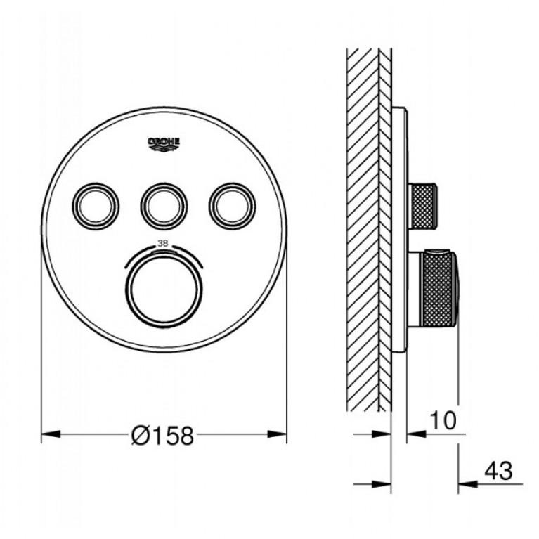 SmartControl Термостат для душа/ванны с 3 кнопками, накладная панель 29121000, фото 2