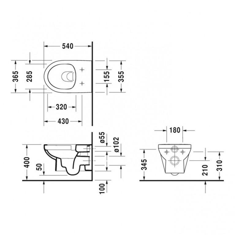 DURASTYLE BASIC Rimless унитаз 36,5*54см, подвесной 45620900A1, фото 4