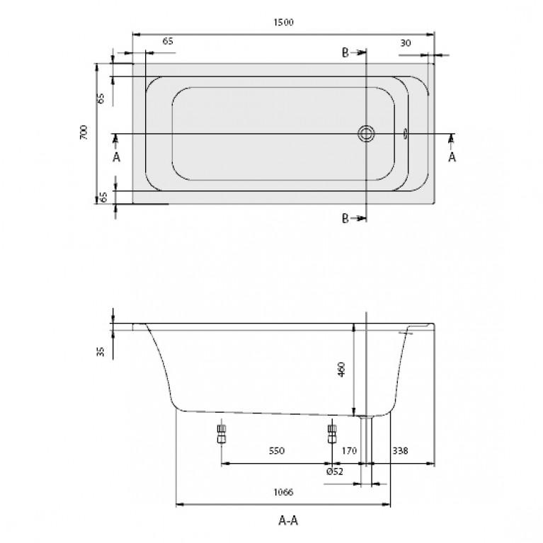ARCHITECTURA ванна 150 *70см, цвет white alpin UBA157ARA2V-01, фото 2