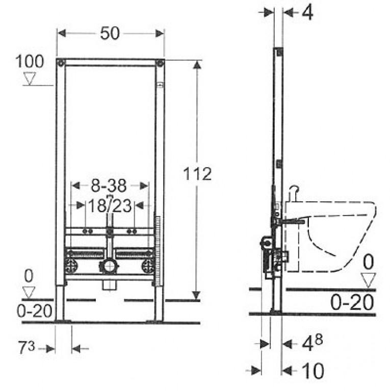 Duofix Монтажный элемент для биде, высота 112 см 111.520.00.1