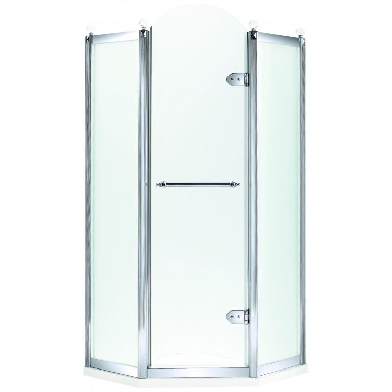 GRAND TENERIFE Silver Кабина пятиугольная с распашной дверью,в серебре, без поддона 1000*1000*2000мм