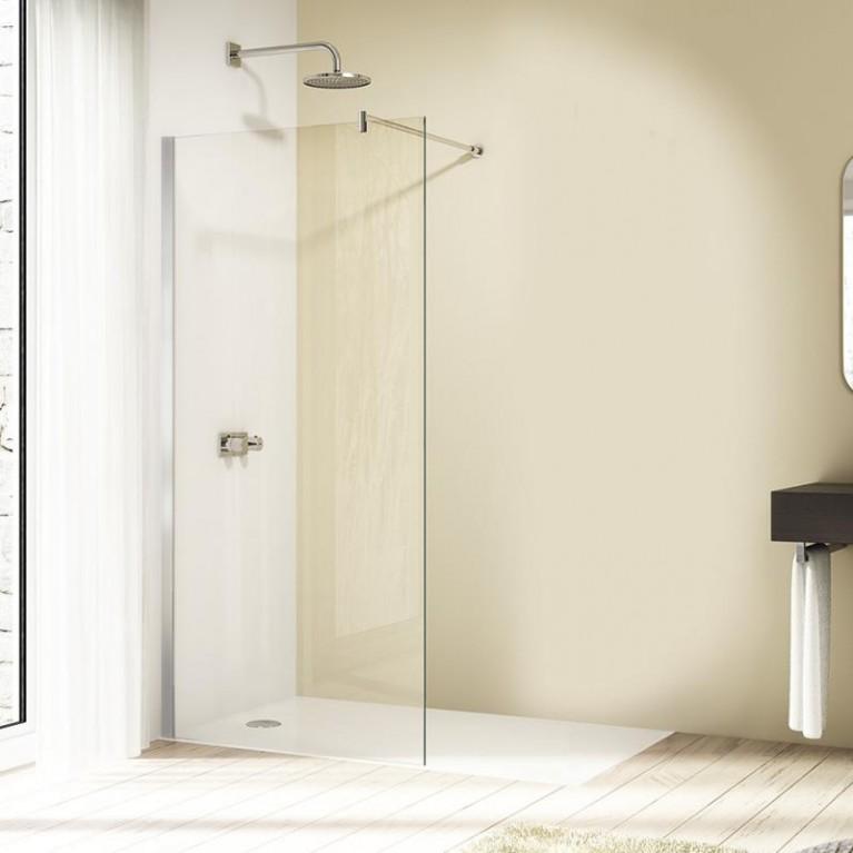 DESIGN PURE стенка боковая 141*200см, отдельно, глянцевый хром, стекло прозрачное Anti-Plaque, фото 1