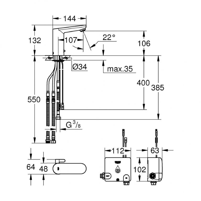 Eurosmart Cosmopolitan E смеситель для раковины с инфракрасным датчиком и системой накопления энергии Powerbox 36386001, фото 2