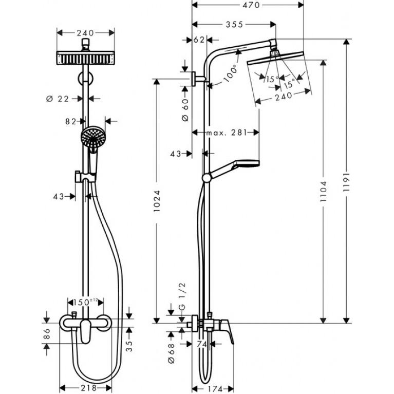 Crometta E 240 1jet Showerpipe Душевая система с однорычажным смесителем, хром 27284000, фото 2