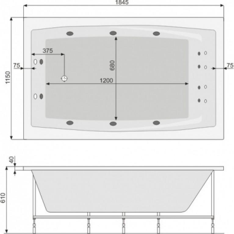 FANTASY ванна  185*115 + рама, фото 2
