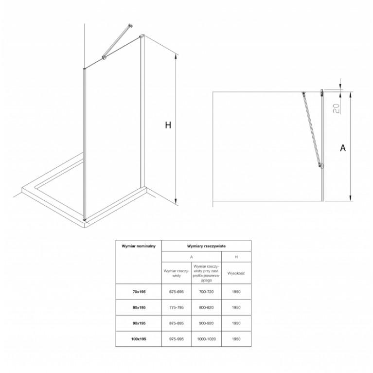 CAPITAL душевая стенка 80*195см, алюмин. хром. профиль, с покрытием MaxiClean AM4408012M, фото 2