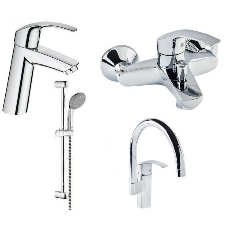 Купить Eurosmart Набор смесителей для ванны+кухня (23324001+33300002+27926000+33202002) у официального дилера GROHE в Украине