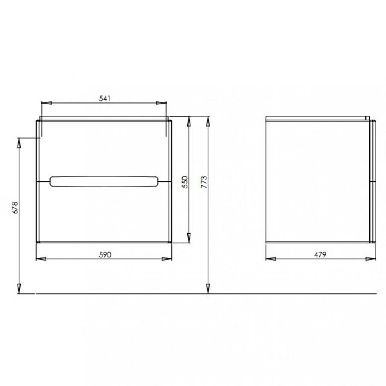 MODO шкафчик под умывальник 60*65*48 см белый глянец/венге (пол.) 89425000, фото 2