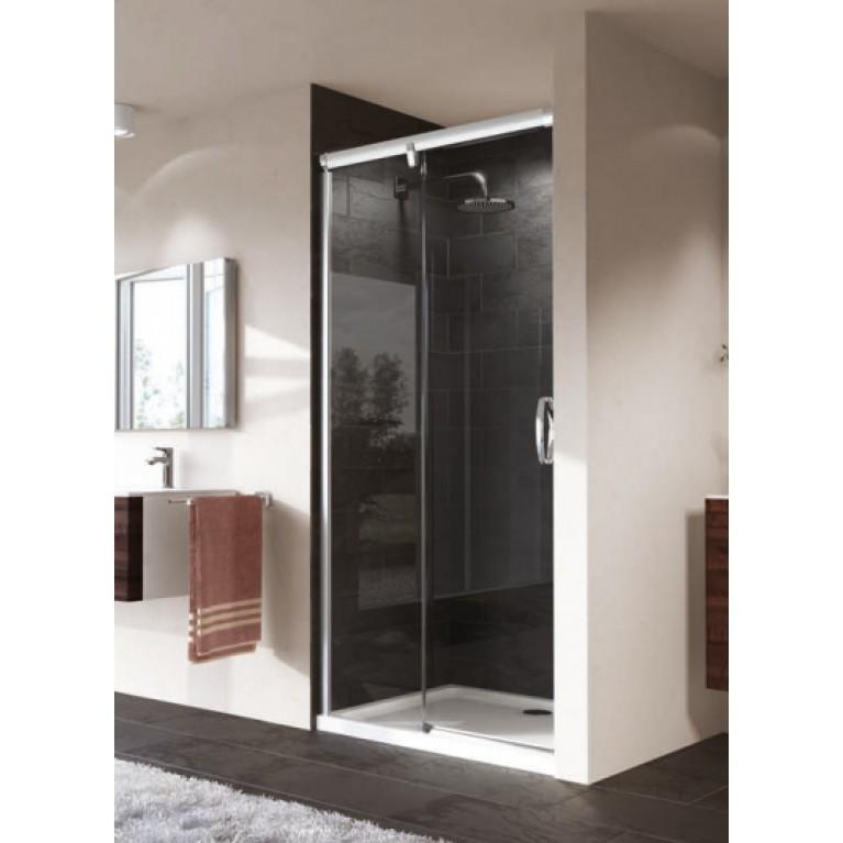 AURA ELEGANCE Дверь раздвижная с неподвижным сегментом 1200, Глянцевый хром, Стекло прозрачное Anti-Plaque, фото 1
