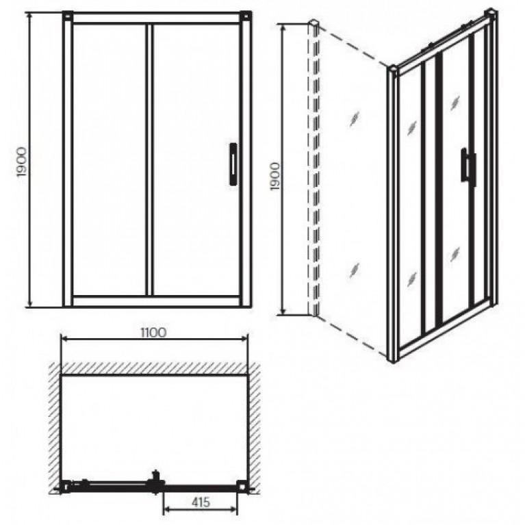 GEO 6 двери раздвижные 2-элементные 110см, закаленное стекло, серебряный блеск, часть 1/2 GDRS11222003A, фото 2
