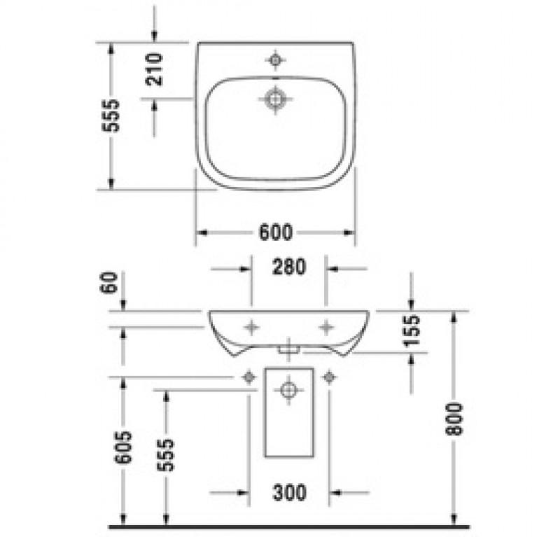 D CODE умывальник 60*55см, с отв. под смеситель, с переливом 23126000002, фото 3