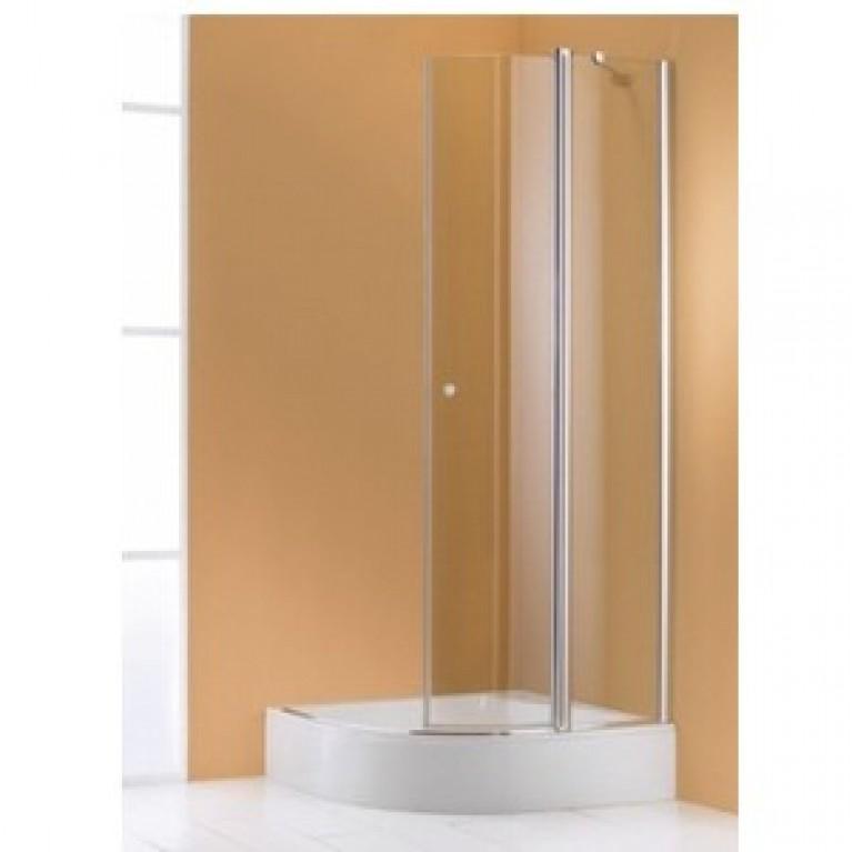 501DESIGN ELEGANCE дверь распашная с неподв сегментом 129,6*196см (проф  глянц хром, стекло прозр)