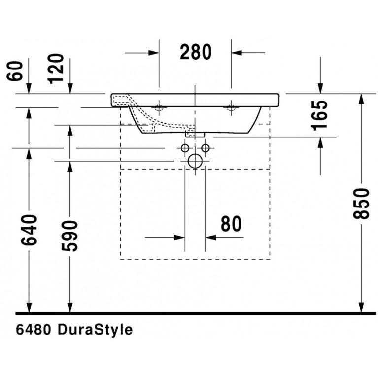 DURASTYLE умывальник 65*48см, для мебели, без перелива, с одним отв. под смеситель, с покрытием WonderGliss 23206500411, фото 4