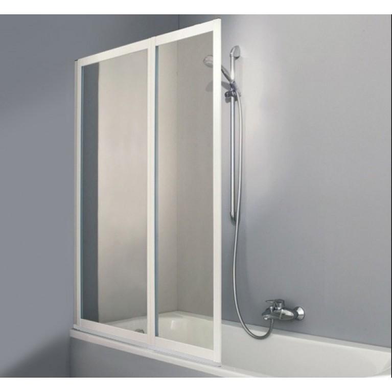 COMBINETT шторка 2-х панельная для ванной 100*140см (проф мат серебро, стекло стириновое Pasific S)