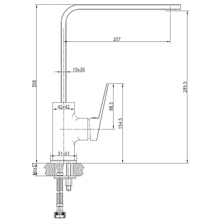 ELANTA смеситель для кухни, хром, 35мм 55451, фото 2