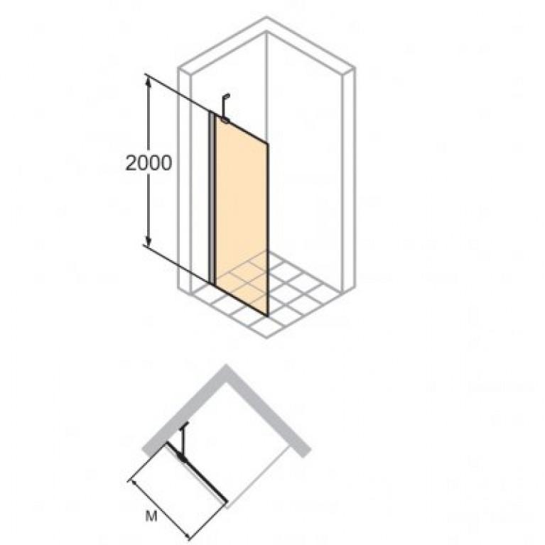 ENJOY ELEGANCE Стенка боковая для распаш. двери 100*200см. (стекло прозр Anti-Plague, профиль хром) 3T1104092322, фото 2
