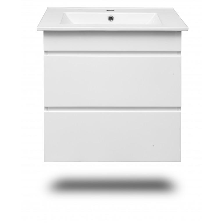 FIESTA комплект мебели 600: тумба подвесная белая (2 ящика)+умывальник накладной 15-600-01, фото 2