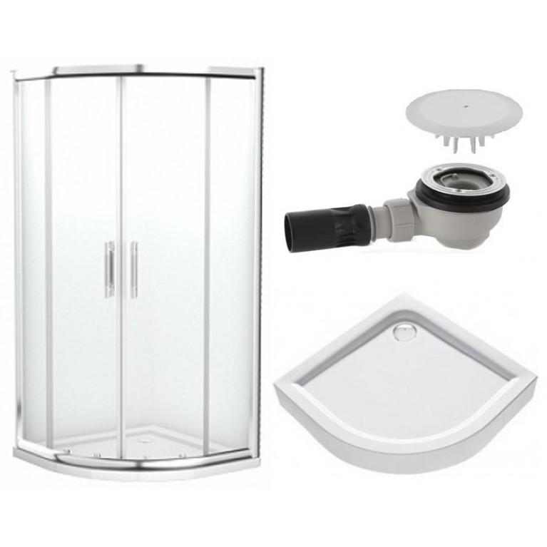 GEO 6 кабина полукруглая 90 см стекло PRISMATIC+FIRST поддон полукруглый 90см+сифон Geberit, фото 1