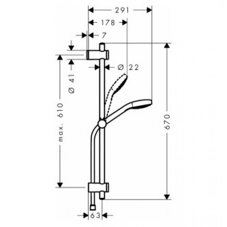MySelect E 1jet EcoSmart Душевой набор 0,65м 26752400, фото 2