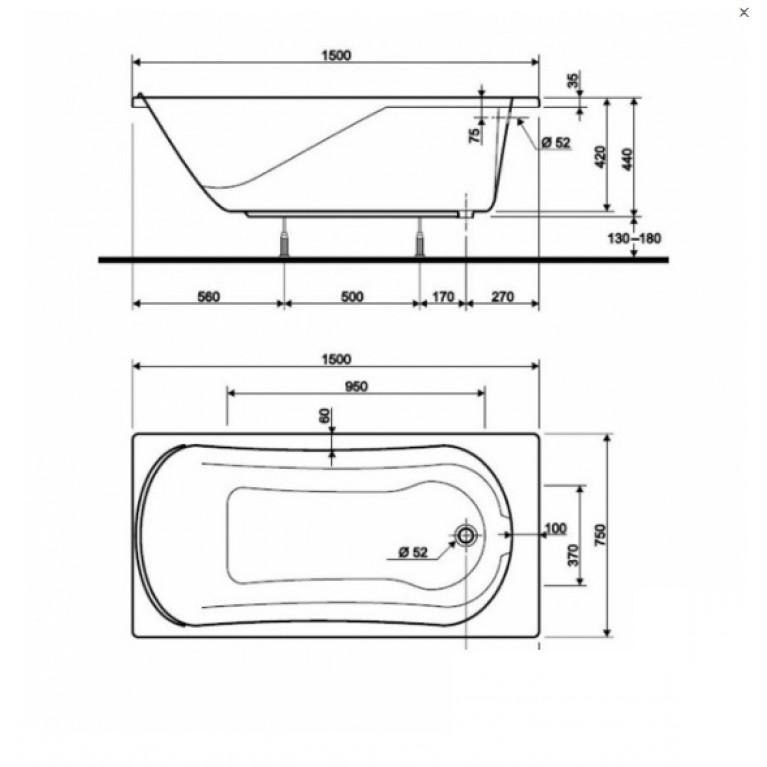COMFORT ванна 150*75см  без панели ( гидром. система эконом) HE3050000, фото 3
