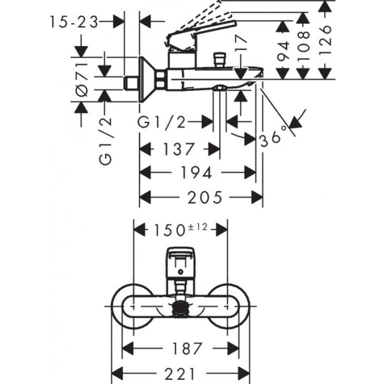 Logis Loop Смеситель для ванны, однорычажный Eco 71413000