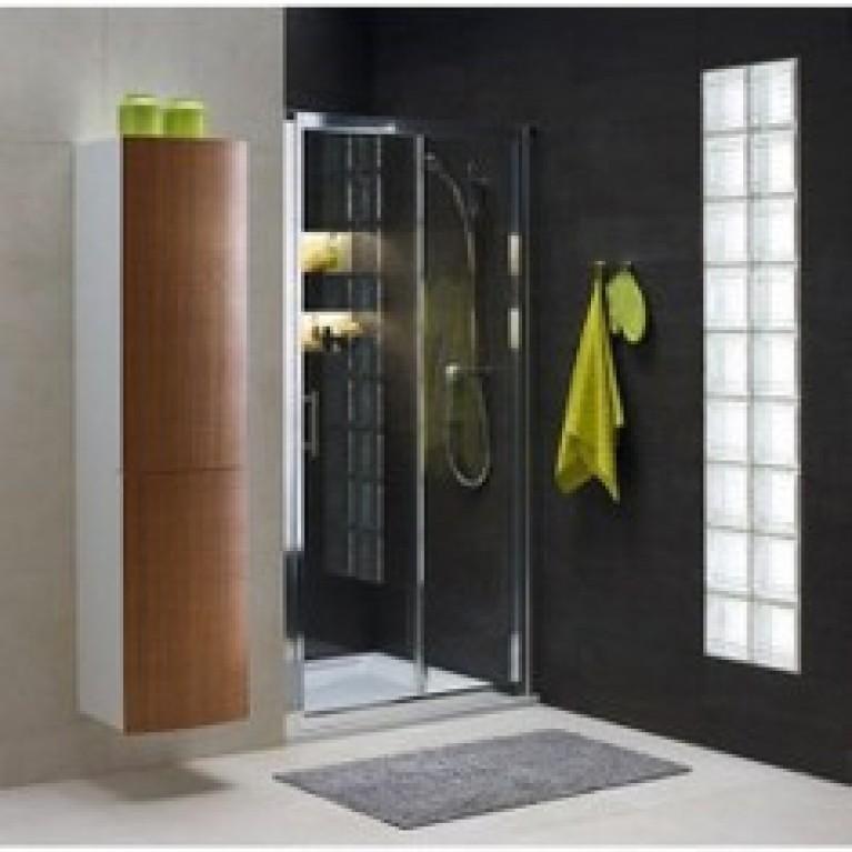 GEO 6 двери раздвижные 120 см, закаленное стекло PRISMATIC, серебряный блеск (кабина состоит из частей 1/2 +2/2), фото 1