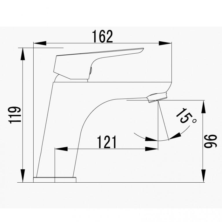 KUCERA смеситель для раковины, хром 35 мм 05105, фото 2