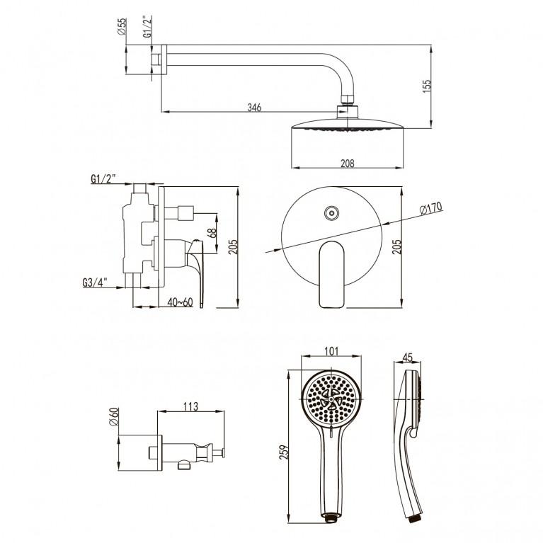 BILINA комплект для ванны/душа  VR-50225, фото 2
