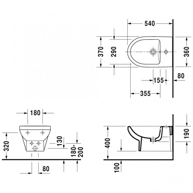 DURASTYLE биде 37*54см, подвесное Basic, с переливом, с отв. под смеситель 2279150000, фото 2