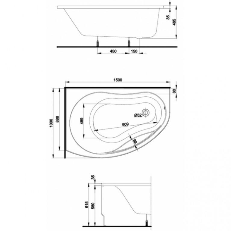 PROMISE ванна асимметричная 150*100 см, правая, белая, с ножками SN7 XWA3050000, фото 2