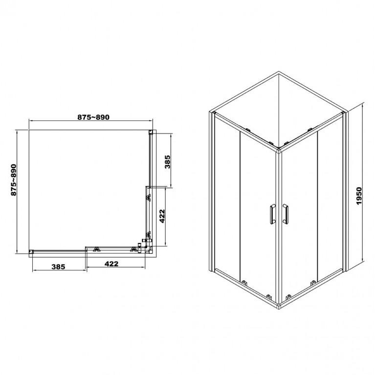 HÉVÍZ Душевая кабина квадратная 900*900*1950мм(стекла+двери), двери раздвижные, стекло прозрачное  6 мм, профиль хром 599-077/1, фото 2
