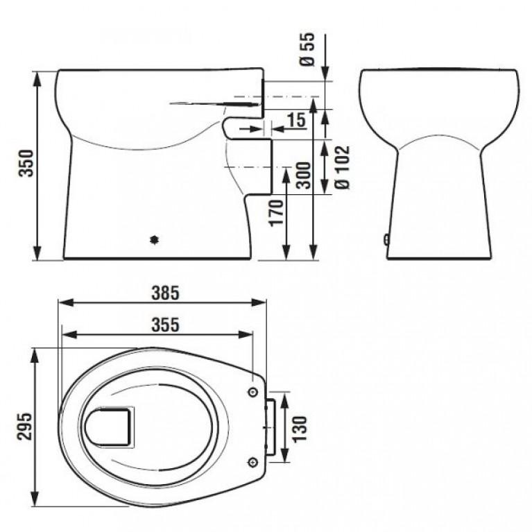 FLORAKIDS чаша унитаза 29,5*38,5см, напольная, смыв горизонтальный, выпуск горизонтальный H8220360000001, фото 2