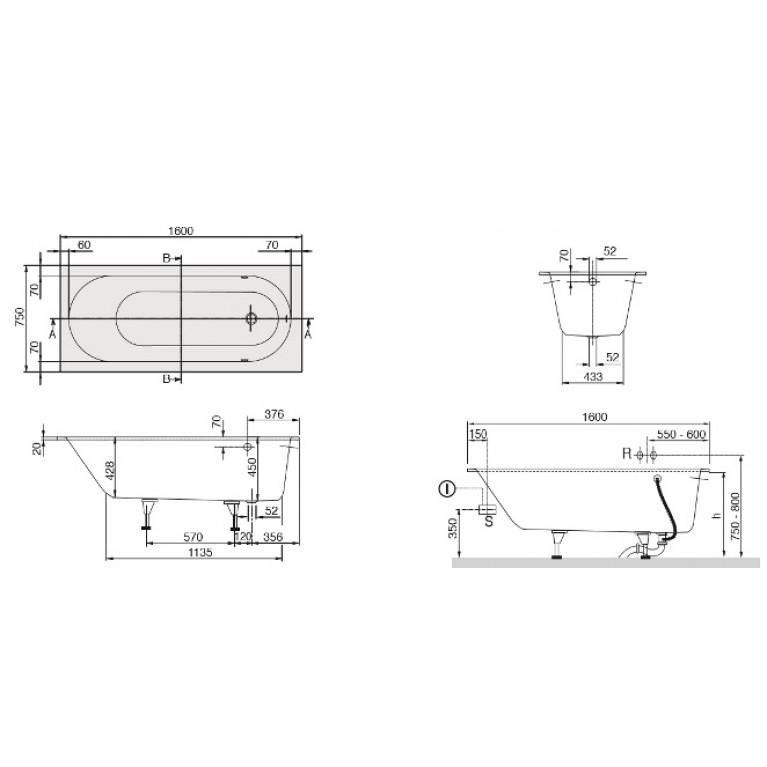 OBERON ванна 160*75 см в комплекте с ножками UBQ160OBE2V-01, фото 2