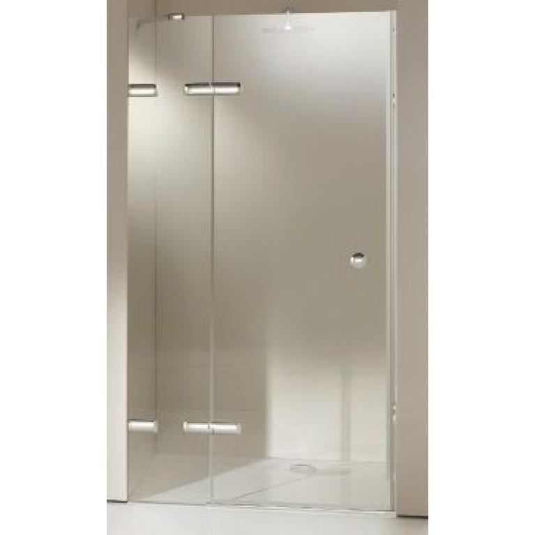 ENJOY ELEGANCE дверь распашн. 120*200 см с дополн. элементом для ниши, крепл. слев, проф. мат. серебро, стекло прозр., фото 1