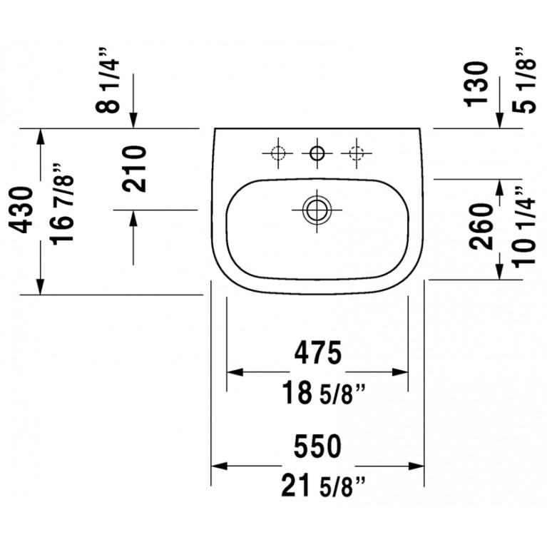 D-CODE умывальник 55*43см, с переливом, с 3мя отверстиями под смеситель, глазуровка снизу, включая крепление 23105500302, фото 2