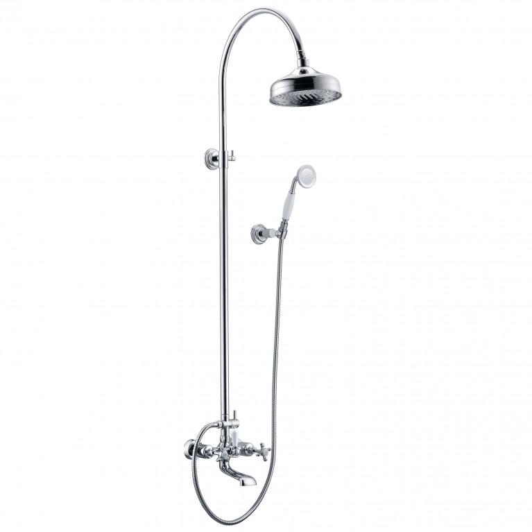 Купить CUTHNA stribro система душевая (двухвентильный смеситель для ванны, верхний и ручной душ), хром у официального дилера IMPRESE в Украине