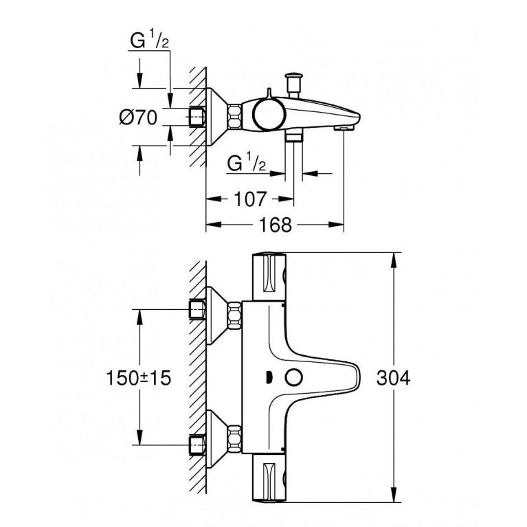 Grohtherm 800 Термостат для ванны 34564000, фото 2