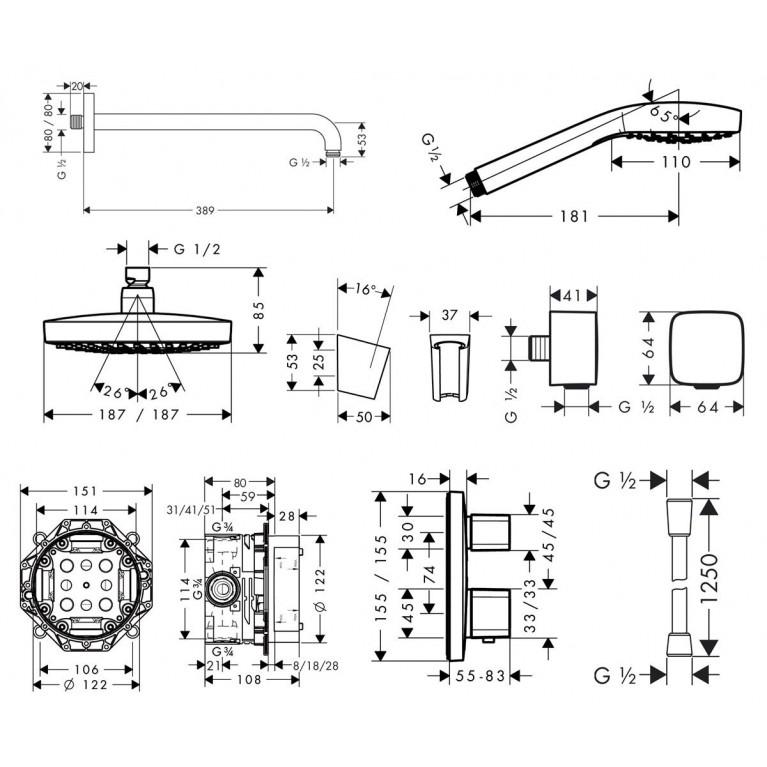 ShowerSet Croma Select E/Ecostat E Душевой набор (верхний, ручной душ, ibox, термостат) 27294000, фото 3