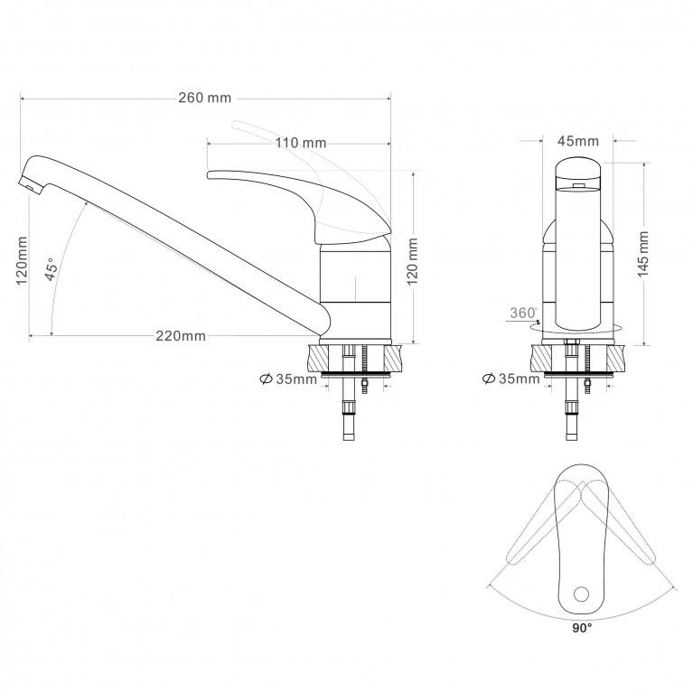 BARON смеситель для кухни однорычажный, излив 210 мм,  хром  40мм RBZ014-6, фото 2