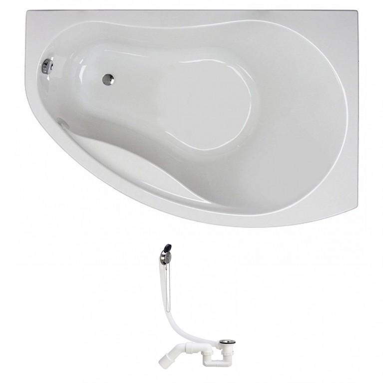 PROMISE ванна асимметричная 150*100 см, правая, белая, с ножками SN7 + сифон Viega Simplex  для ванны, фото 1