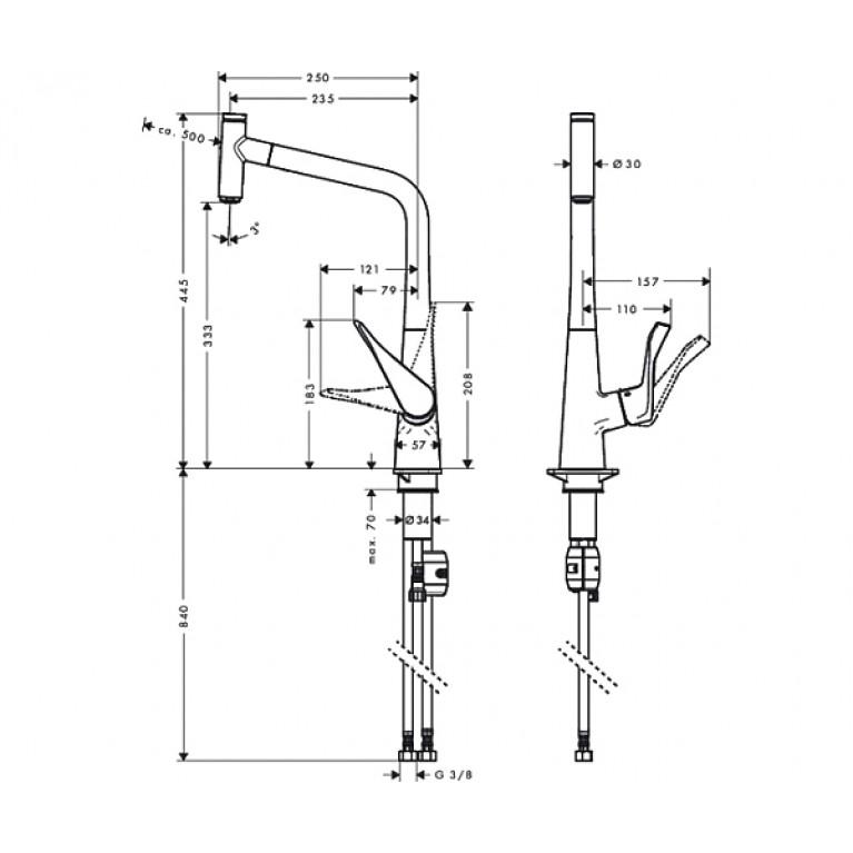 Metris Select Смеситель для кухни 320, однорычажный, с выдвижным изливом 14884000, фото 2